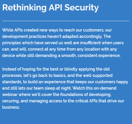Rethinking API Security
