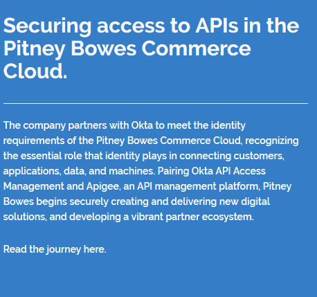 Securing access to APIs in the Pitney Bowes Commerce Cloud.
