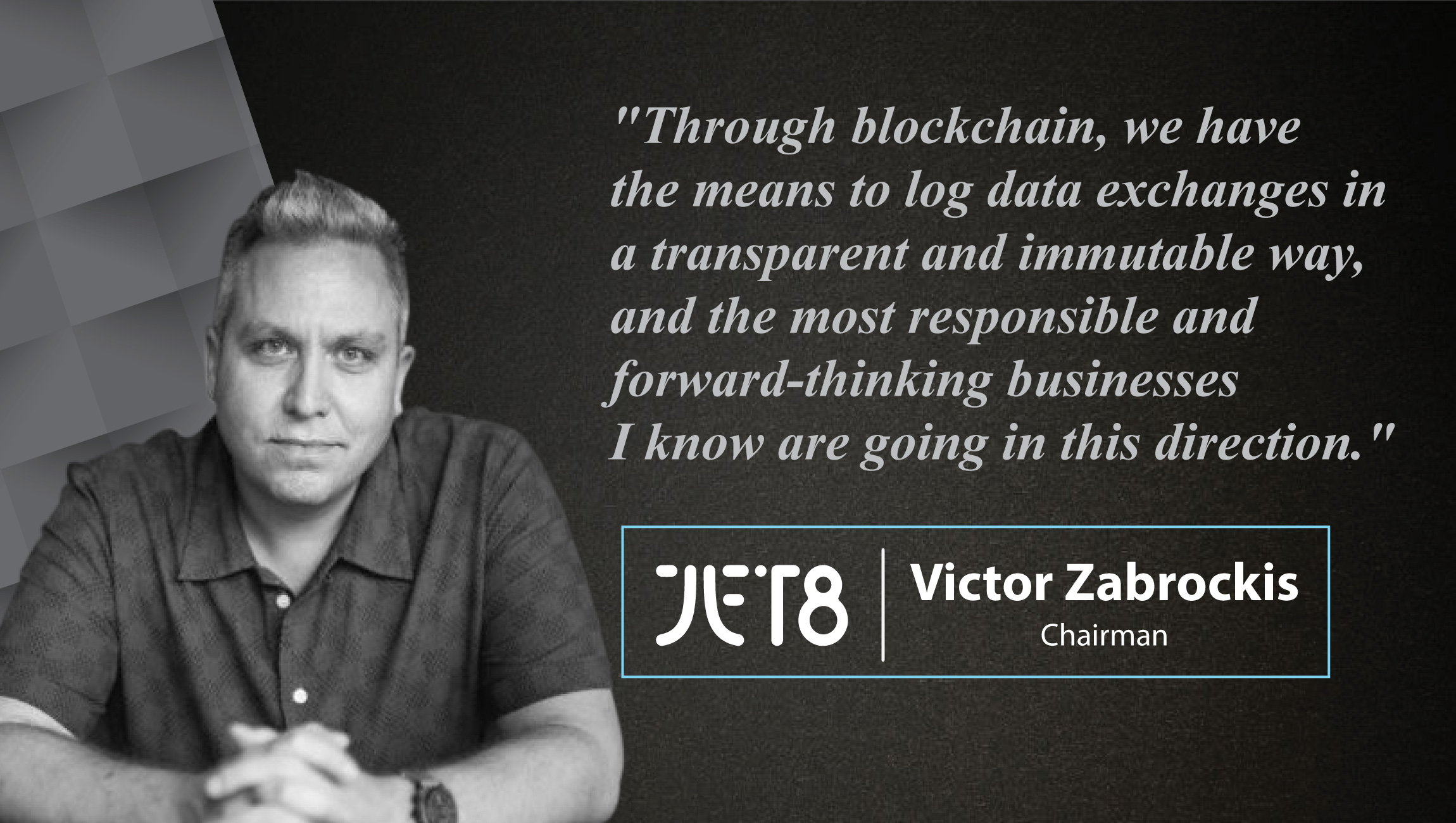 Interview with Victor Zabrockis, Chairman at JET8 Foundation-cue card