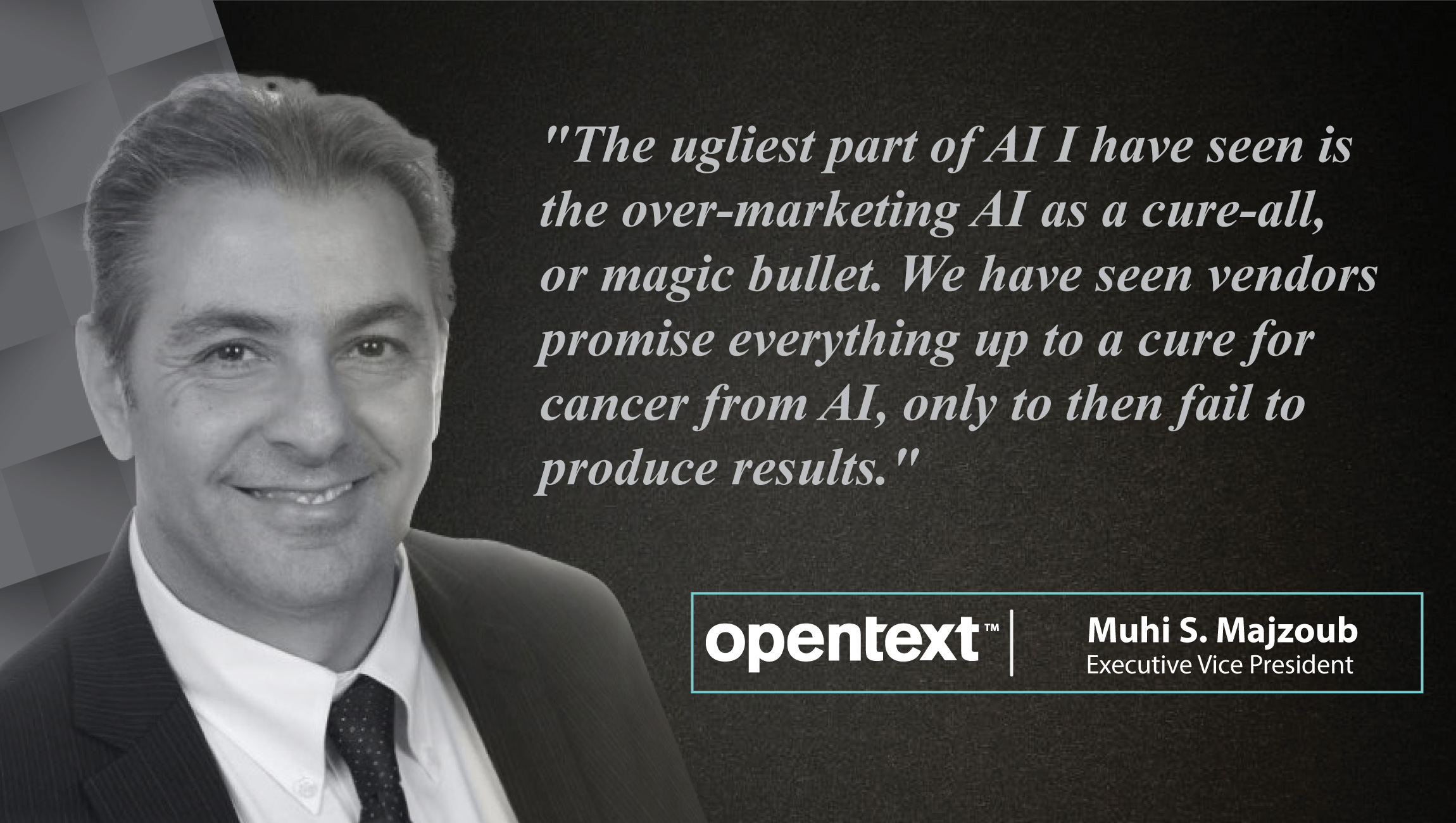 AiThority Interview Series with Muhi S. Majzoub, EVP at OpenText Engineering and Cloud Services_cue card